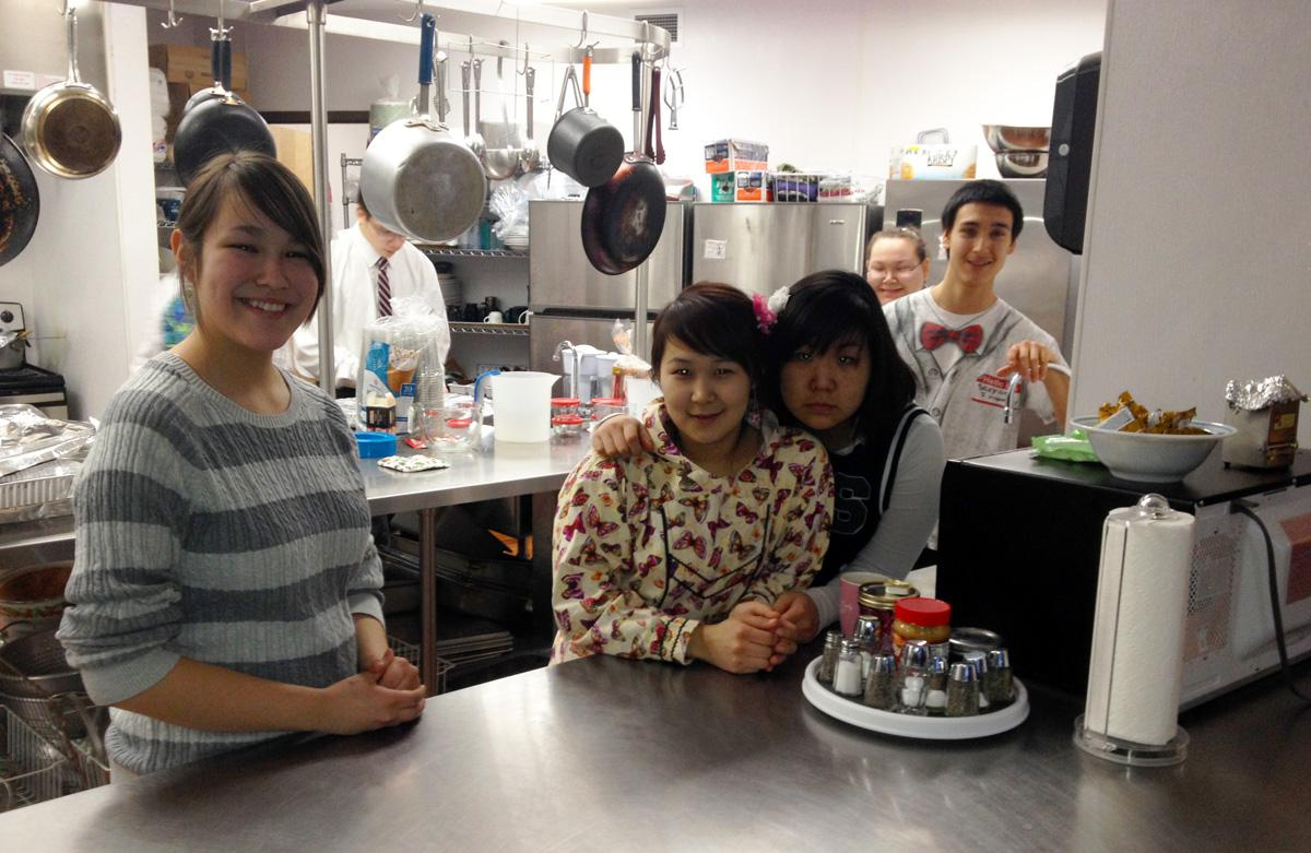 Nice Some Of The Students Who Served Food To The Community Were, From Left,  Autumn