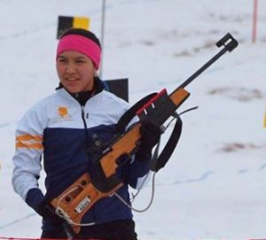 Carolyn Sam at the Arctic Winter Games. Photo courtesy Connie Moos.
