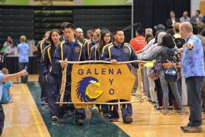 The Galena NYO team arriving at the state meet. The banner won an award for being the best at the meet.