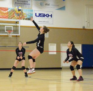 Galena volleyballer Kiana Korta goes up against Eielson with this spike during the game on Oct. 21.