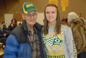 Jenna Buchanan, shown here during her 2011 signing ceremony in the SHS gym along with Galena elder Sidney Huntington.