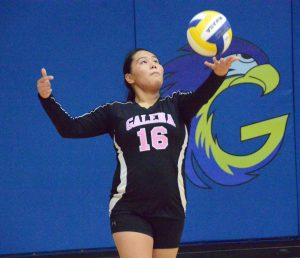 Junior Kaitlyn Aloysius sets up the serve during the volleyball game.