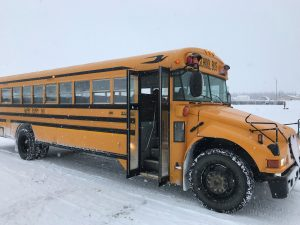 Kim Wolf's school bus will be retiring at the end of the year, along with Kim herself. Photo by Alex Evans.