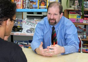 School accreditation specialist Douglas Waclawski, a former teacher from Homer, during his visit to the SHS campus.
