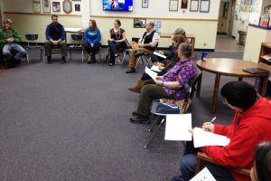 Part of the talking circle at the town hall meeting in the SHS library on Jan. 14. At left, Galena Mayor John Korta is next to Galena Supt. Chris Reitan; others pictured are GILA counselor Jana Rider, admissions director Adrian Johnson, GILA principal John Riddle, several  community members, and Hawk Highlights staff Aaron Munter.