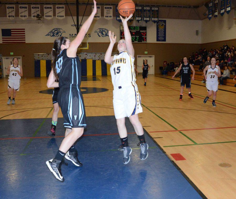 Lady Hawks Kiana Korta goes up for a basket.