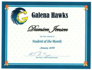 Each student of the month receives a certificate of appreciation.