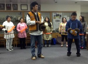 The Ptarmigan Hall Native Dancers performing at SHS last fall. Thanks to Dorothy Willliams for this photo.