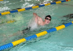 A swimmer at last year's swim-a-thon in the Galena pool. Photo by Sarah Brown.