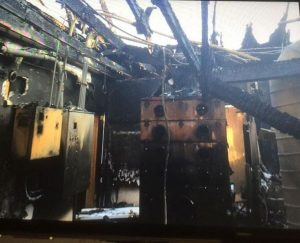 The interior of the water plant after the fire on April 24.