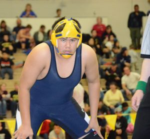 Galena wrestler Anthony Sam, shown here at the 2014 state championships in Anchorage.