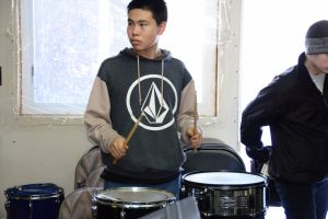 GILA student Calvin Moore practices on the drums in preparation for last year's RIFF@N*HOOK festival.