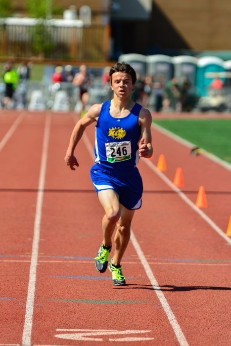 Kaleb Korta running at the state track and field championship in May 2015.