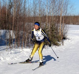 Galena skier Carolyn Sam is shown here competing at last year's ski meet in Galena. Photo by Sarah Brown.