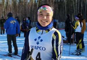 Arctic Winter Games athlete Carolyn Sam, shown here at the March 2015 at a ski meet in Nenana. Photo by Sarah Brown.