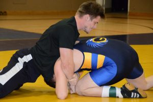 Basketball coach Lou Karlberg was one of the many adults called out by Galena senior wrestlers during last year's Intersquad Rumble.