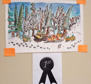 Lucas Enchenique's first place painting at the Halloween Art Contest at the Two Seasons dining hall.