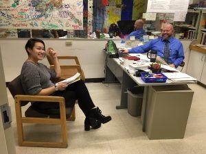 Hawk Highlights editor Autumn Jensen-Roehl and GILA assistant principal Nick Schumacher.