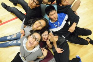 """Students in an activity during last September's """"Phly by Night"""" in the GILA gym."""