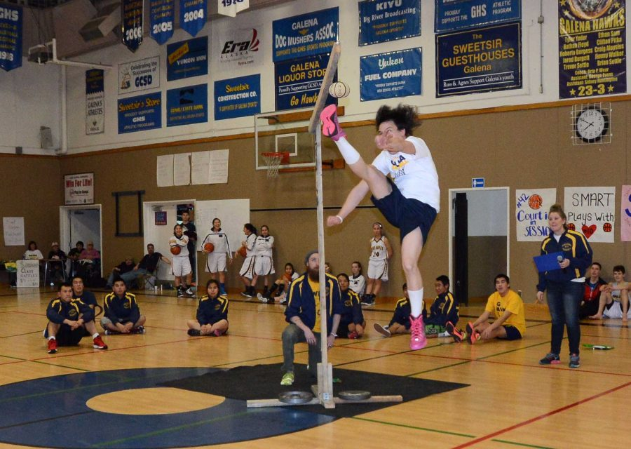 NYO athlete Shad Fischel at a demonstration event last year during half time at a basketball game.