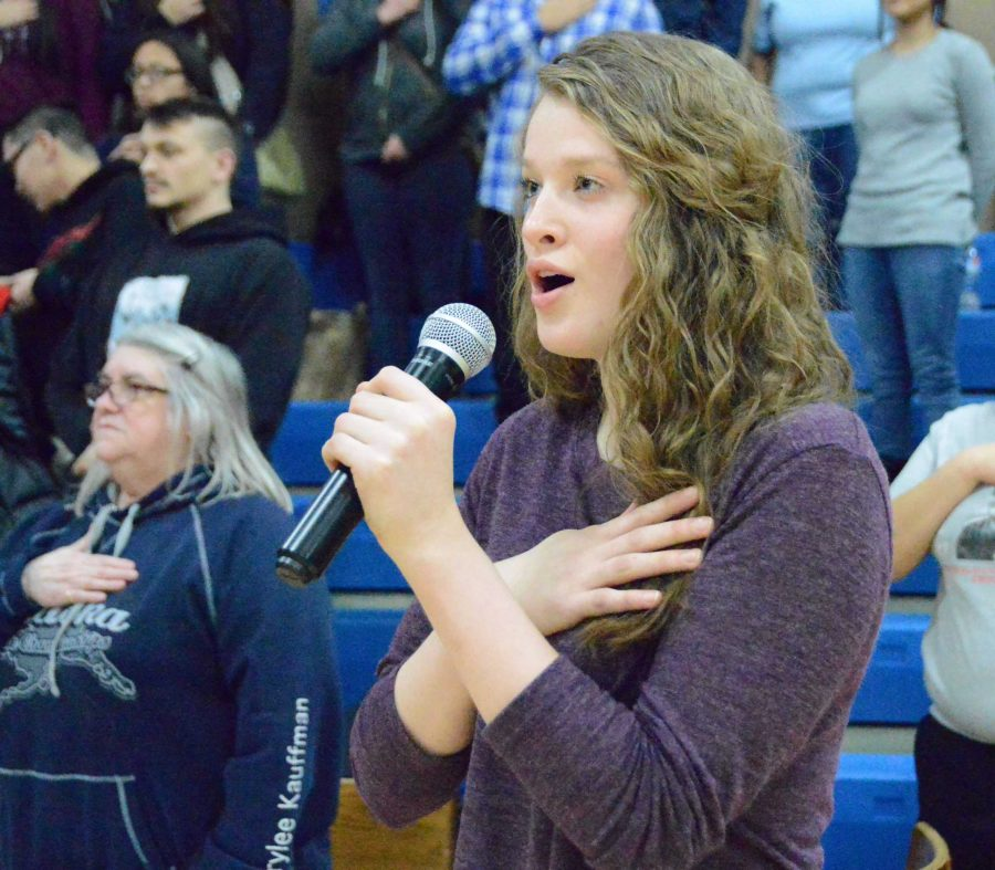 Galena Lady Hawk and senior Amanda Kopp singing the national anthem at the junior varsity tournament on Feb. 2, 2017 in the SHS gym.