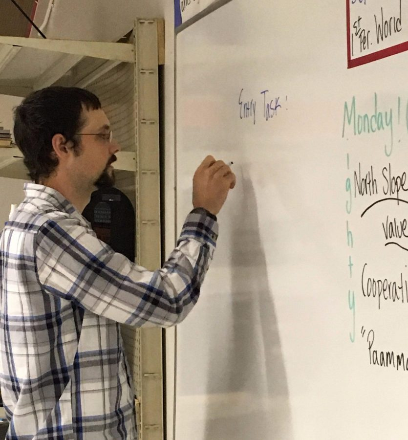 Mr. Schwoch in his social studies classroom on the GILA campus. Photo by Emily Tomlinson.