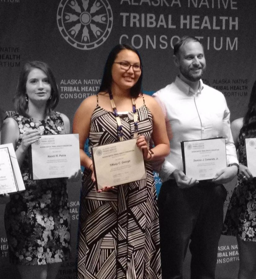 Tiffany George, class of 2015, is shown here with her certificate for completing the Alaska Dental Therapy Educational Program.