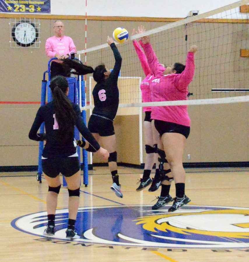 The Galena volleyball team in a recent match.