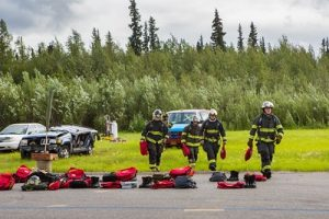 The CTC Summer Fire Academy is an intensive month-long training where students participate in classroom and hands-on learning to prepare them for the International Fire Service Accreditation Congress Firefighter I certificate. Photo courtesy UAF.