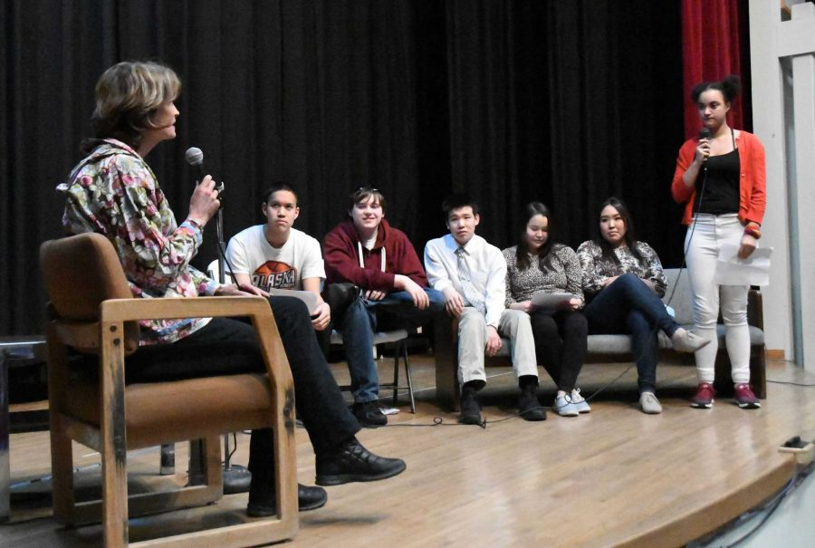 Students from the journalism class faced Sen. Lisa Murkowski during her visit to Galena.
