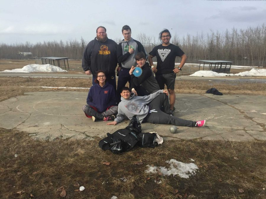 The members of the Galena shot put and discus squad are, top row, from left, coach Ben Blasco, Koby Wightman, and Joshua Felarca; bottom row, from left, Chiara Demientieff, Isaak Larson, and John Riddle III.