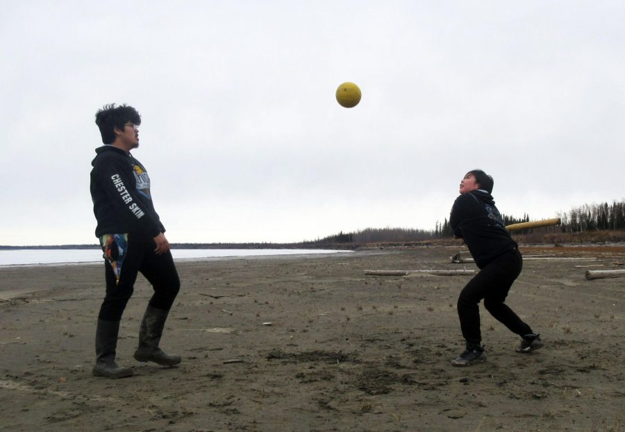 Bat ball seniors Chester Skin (left) and Chloe Tinker enjoy this year's Senior Skip Day. Sometimes the game is called Lap Game. Photo by Lydia Chunak.