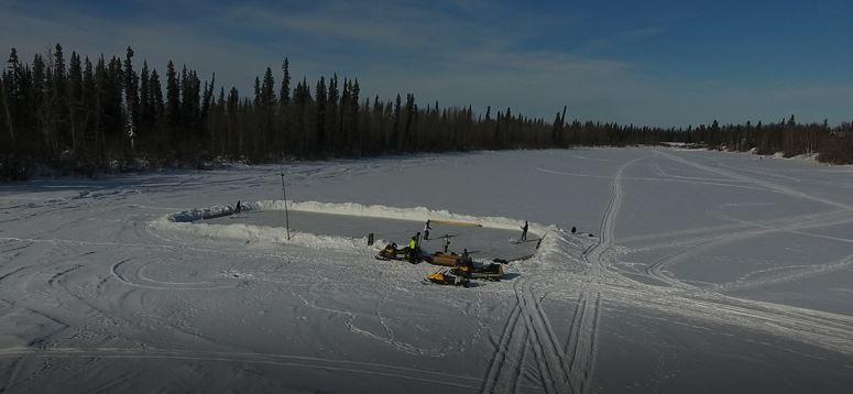 The hockey rink on Alexander Lake.