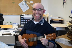 Mr. Conlon and his ukulele.