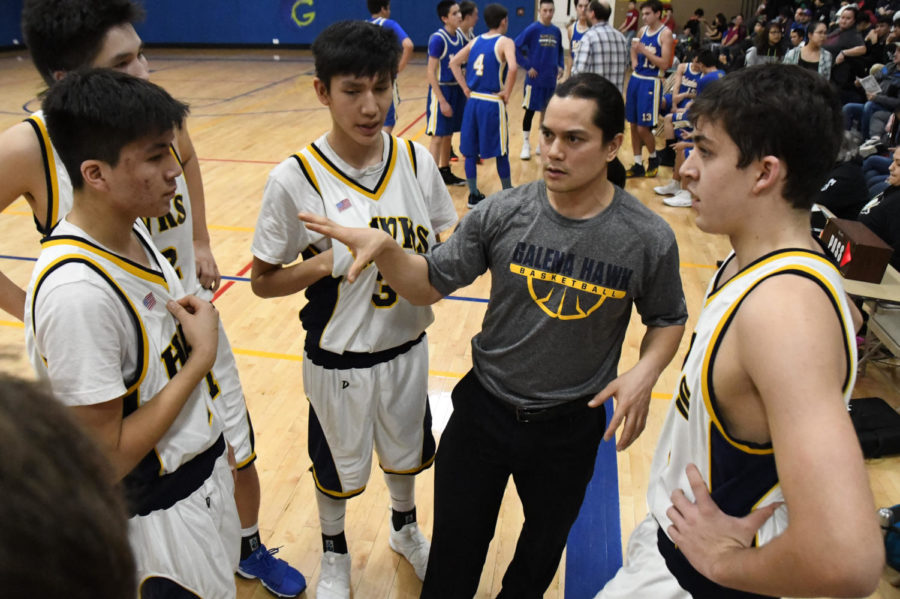 JV coach Ryan Harms and the Galena JV boys team.